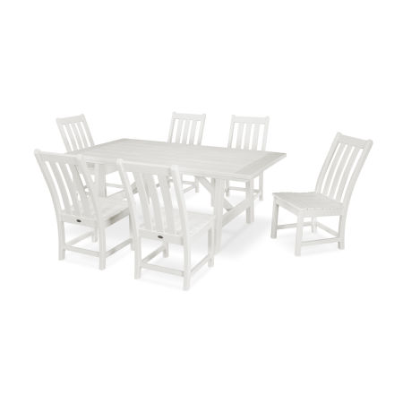 Vineyard 7-Piece Rustic Farmhouse Side Chair Dining Set in Vintage White