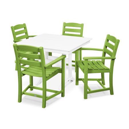 La Casa Café 5-Piece Farmhouse Arm Chair Dining Set in Lime / White