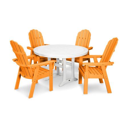 Vineyard Adirondack 5-Piece Nautical Trestle Dining Set in Tangerine / White