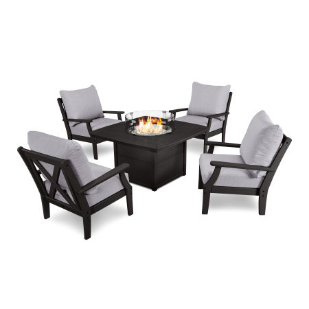 5-Piece Deep Seating Conversation Set with Fire Pit Table