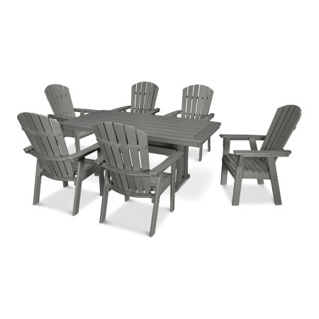 Nautical Adirondack 7-Piece Trestle Dining Set in Slate Grey