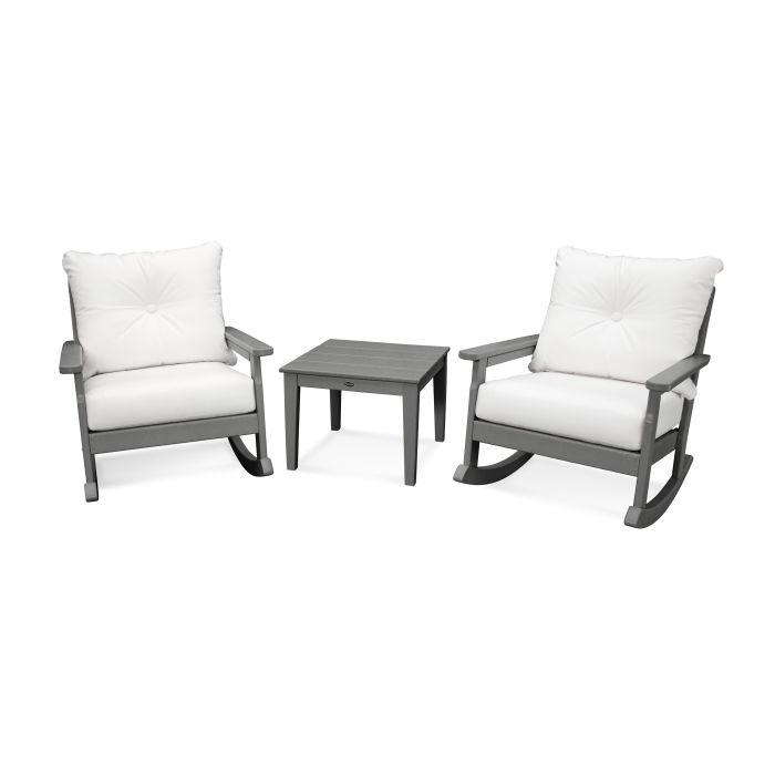 Vineyard 3-Piece Deep Seating Rocking Chair Set in Slate Grey