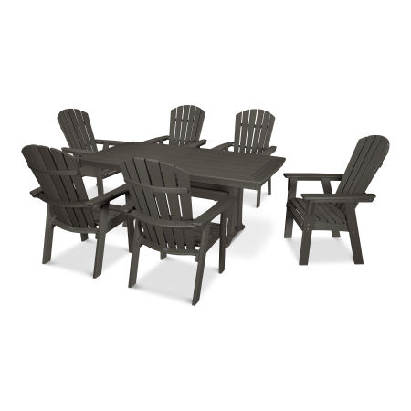 Nautical Adirondack 7-Piece Trestle Dining Set in Vintage Finish