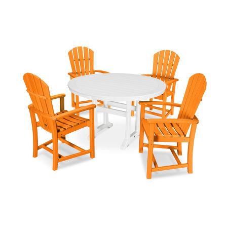 5 Piece Palm Coast Dining Set in Tangerine / White