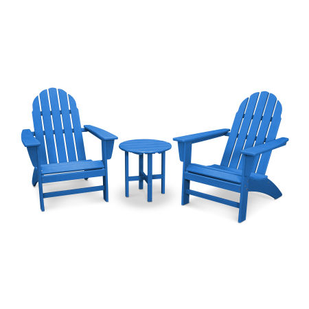 Vineyard 3-Piece Adirondack Set in Vintage Pacific Blue