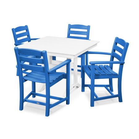 La Casa Café 5-Piece Farmhouse Arm Chair Dining Set in Pacific Blue / White
