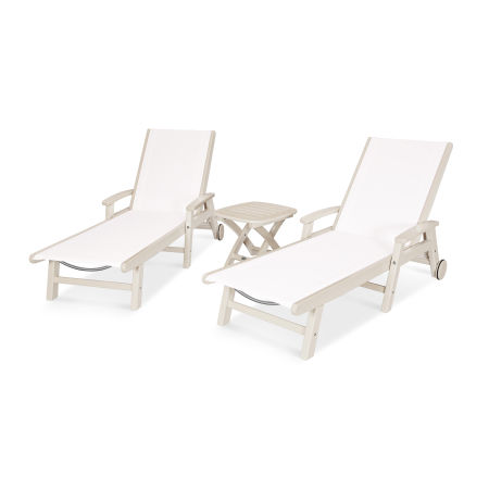 Coastal 3-Piece Wheeled Chaise Set in Sand / White Sling