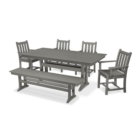 Traditional Garden 6-Piece Farmhouse Dining Set with Bench in Slate Grey
