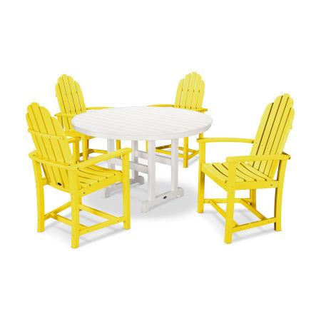 Classic Adirondack Dining 5-Piece Set in Lemon / White