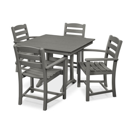 La Casa Café 5-Piece Farmhouse Arm Chair Dining Set in Slate Grey