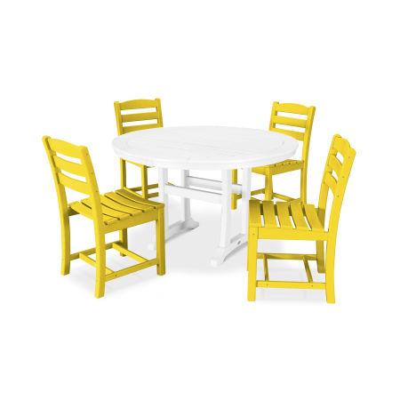 La Casa Café 5 Piece Side Chair Dining Set in Lemon