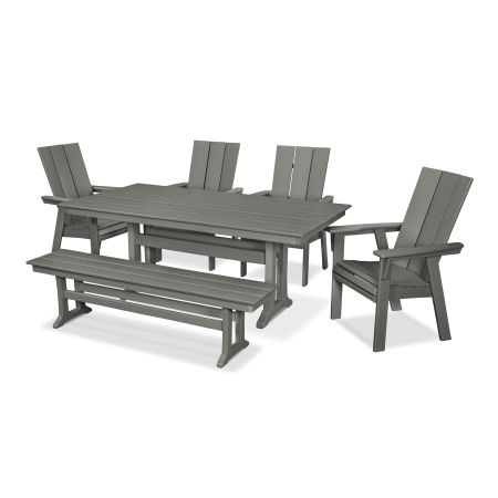Modern Adirondack 6-Piece Farmhouse Dining Set with Bench in Slate Grey