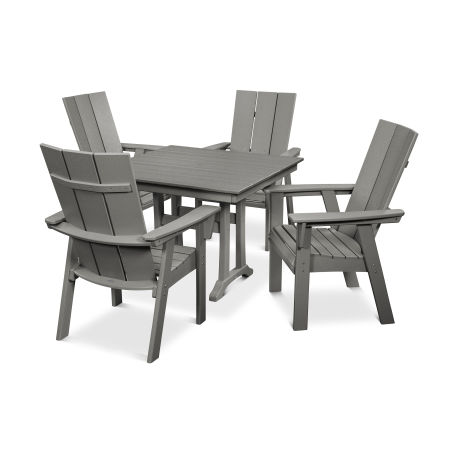 Modern Adirondack 5-Piece Farmhouse Dining Set in Slate Grey
