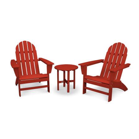 Vineyard 3-Piece Adirondack Set in Crimson Red