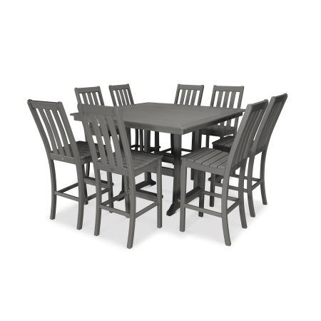 Vineyard 9-Piece Nautical Trestle Bar Set in Slate Grey