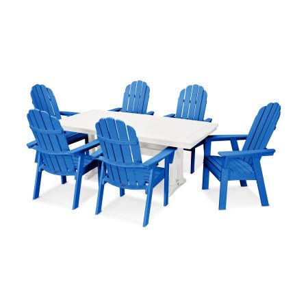 Vineyard Adirondack 7-Piece Nautical Trestle Dining Set in Pacific Blue