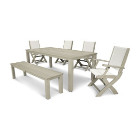 Coastal 6-Piece Harvest Bench Dining Set