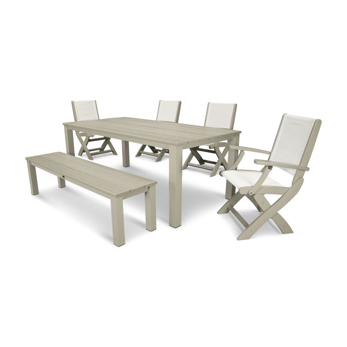 Superb Coastal 6 Piece Harvest Bench Dining Set Dailytribune Chair Design For Home Dailytribuneorg