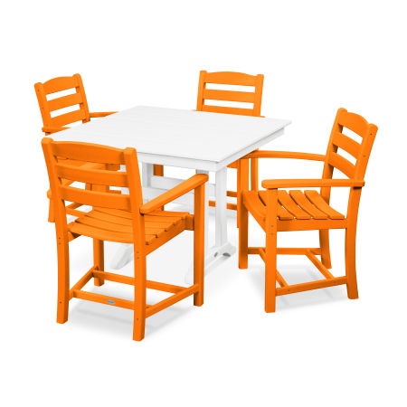 La Casa Café 5-Piece Farmhouse Arm Chair Dining Set in Tangerine / White