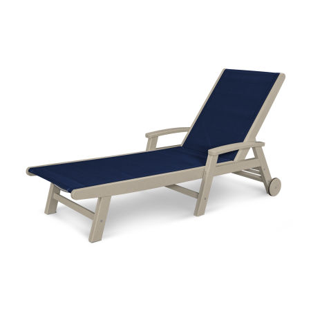 Coastal Wheel Chaise in Sand / Navy Blue Sling