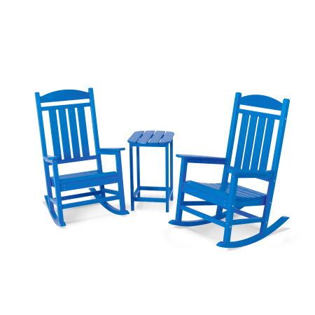 Presidential Rocking Chair 3-Piece Set in Pacific Blue