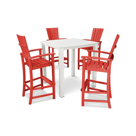 Quattro 5-Piece Bar Set in Sunset Red
