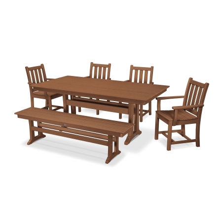 Traditional Garden 6-Piece Farmhouse Dining Set with Bench in Teak