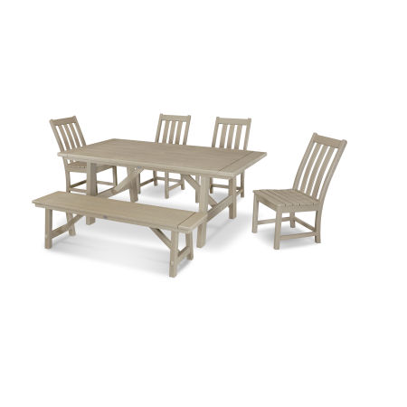 Vineyard 6-Piece Rustic Farmhouse Side Chair Dining Set with Bench in Vintage Sahara