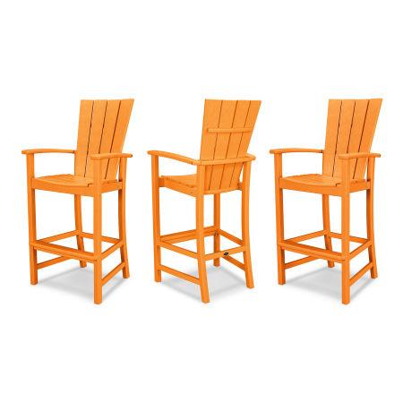 Quattro 3-Piece Bar Set in Tangerine