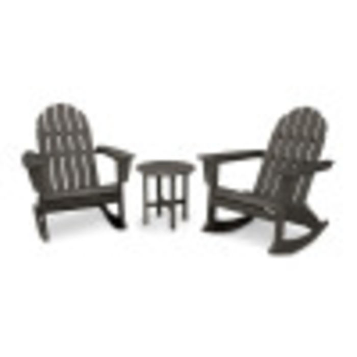 best service ce5e3 a9373 Vineyard 3-Piece Adirondack Rocking Chair Set in Vintage Finish