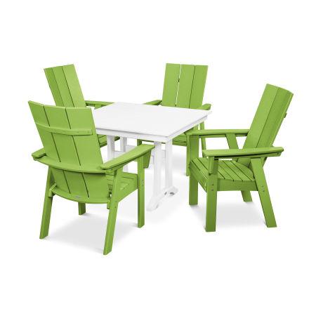 Modern Adirondack 5-Piece Farmhouse Dining Set in Lime / White