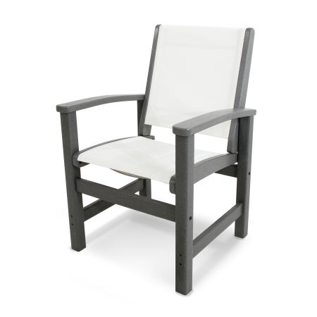 Coastal Dining Chair in Slate Grey / White Sling