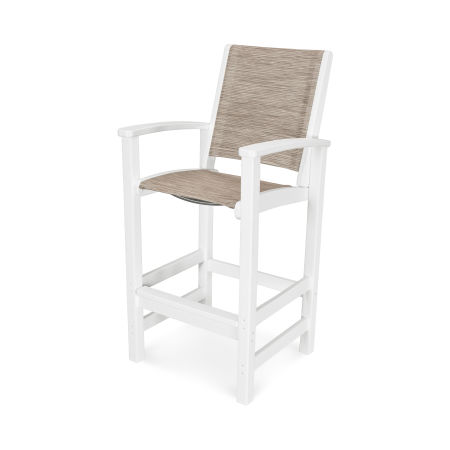 Coastal Bar Chair in Vintage White / Onyx Sling