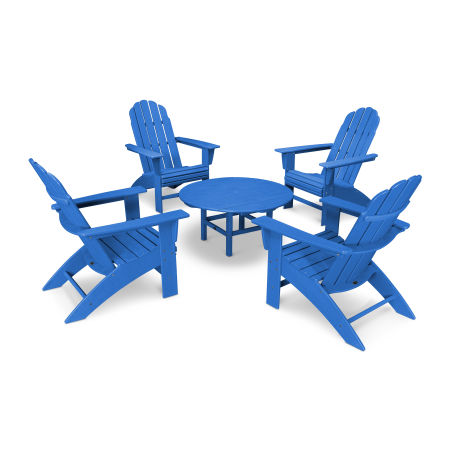 Vineyard 5-Piece Oversized Adirondack Set in Vintage Pacific Blue