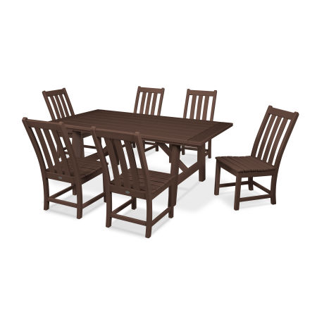 Vineyard 7-Piece Rustic Farmhouse Side Chair Dining Set