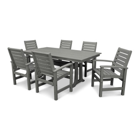 Signature 7 Piece Farmhouse Dining Set in Slate Grey