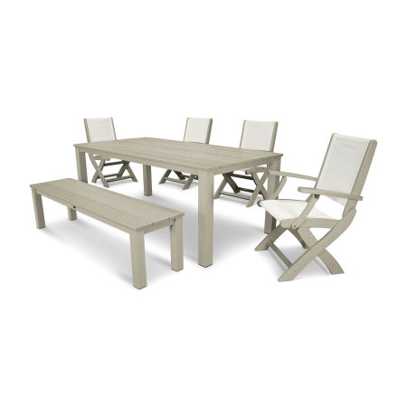 Coastal 6-Piece Harvest Bench Dining Set