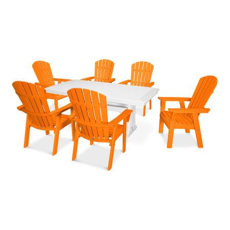 Nautical Adirondack 7-Piece Trestle Dining Set in Tangerine / White