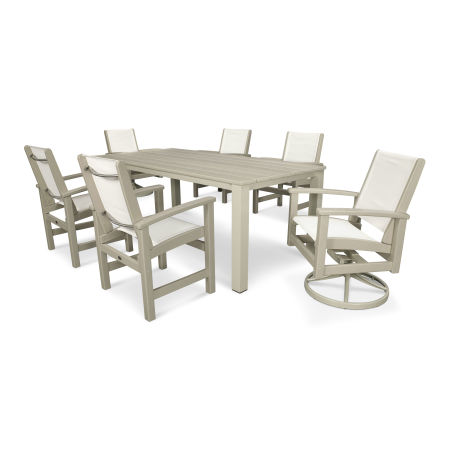 Coastal 7-Piece Harvest Swivel Dining Set