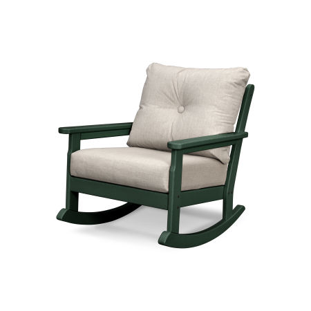 Vineyard Deep Seating Rocking Chair in Green / Cast Ash
