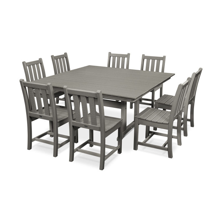 POLYWOOD® Traditional Garden 9-Piece Farmhouse Dining Set ...
