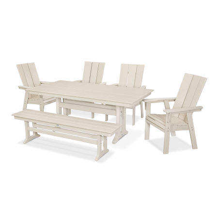 Modern Adirondack 6-Piece Farmhouse Dining Set with Bench in Sand