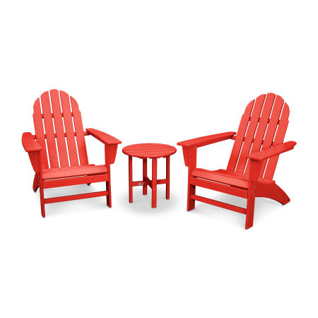 Vineyard 3-Piece Adirondack Set in Sunset Red