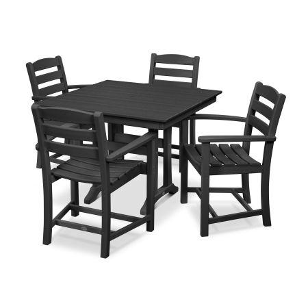 La Casa Café 5-Piece Farmhouse Arm Chair Dining Set in Black