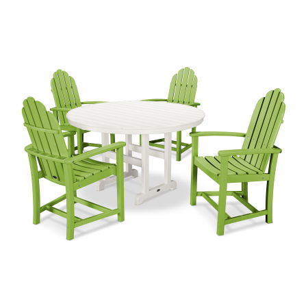 Classic Adirondack Dining 5-Piece Set in Lime / White