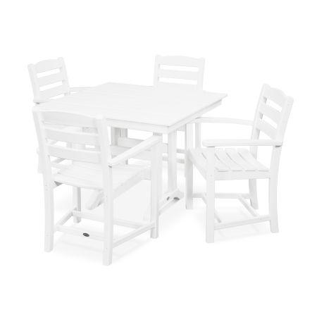 La Casa Café 5-Piece Farmhouse Arm Chair Dining Set in White
