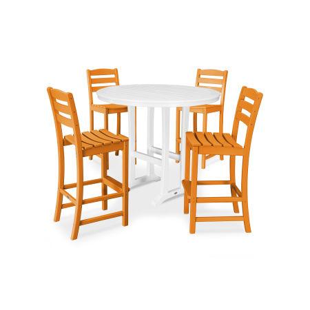 La Casa Café 5 Piece Side Chair Bar Dining Set in Tangerine