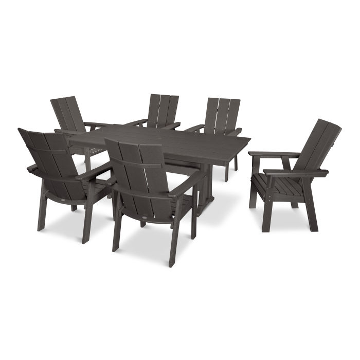 Modern Adirondack 7 Piece Farmhouse Dining Set In Vintage Finish