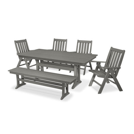 Vineyard 6-Piece Farmhouse Folding Dining Set with Bench