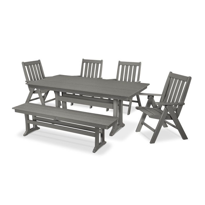 Cool Polywood Vineyard 6 Piece Farmhouse Folding Dining Set With Gmtry Best Dining Table And Chair Ideas Images Gmtryco